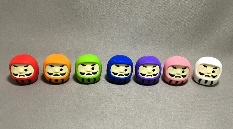 Colourful Daruma Erasers - lined up