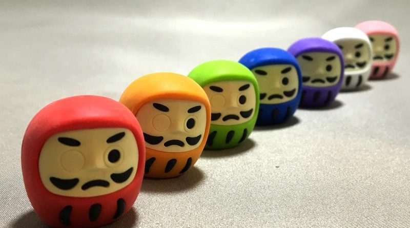 Colourful Daruma Erasers - lined up 2