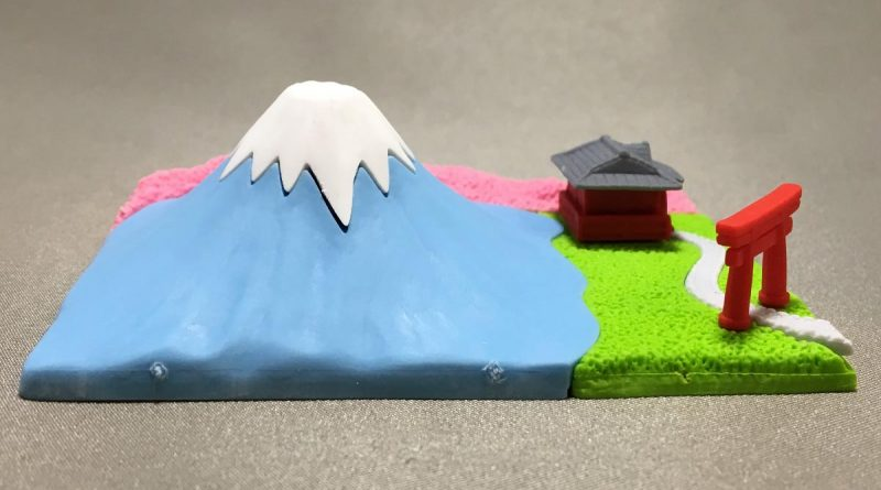 Mount Fuji Eraser With Shinto Shrine - left view