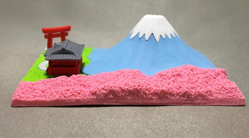 Mount Fuji Eraser With Shinto Shrine - right view