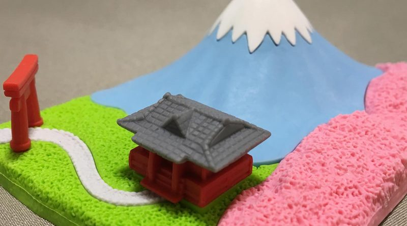 Mount Fuji Eraser With Shinto Shrine - side view