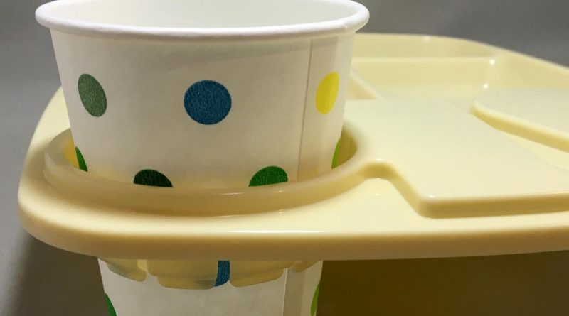 One Hand Tray - yellow tray with cup